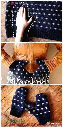 jak zrobić sobie rękawiczki ze starego swetra?