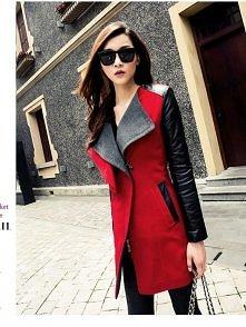 Czerwony płaszcz wiosenny