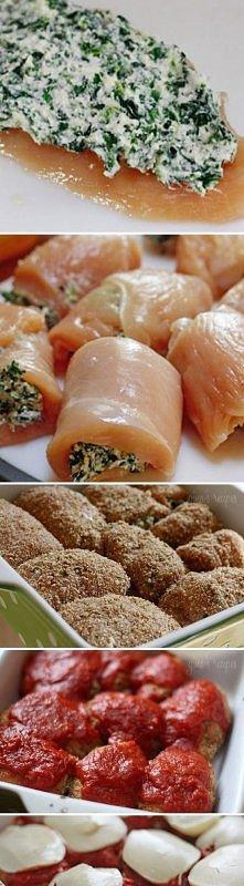 feta, pierś z kurczaka,szpinak, mozarella :)