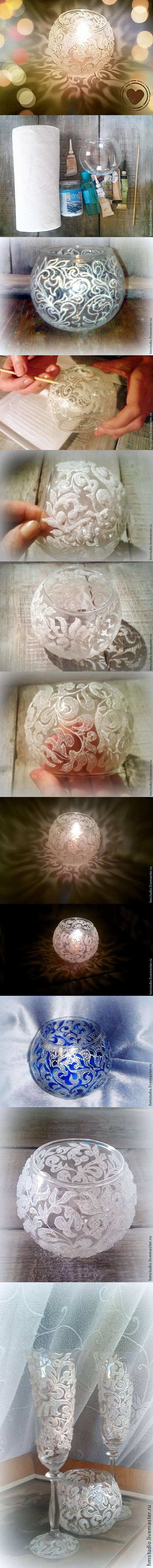 diy, frosty vase, frosty pattern, handmade