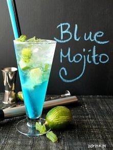 Blue Mojito:  * pół limonki * kilka listków mięty * 40 ml rumu * 15 ml syropu...