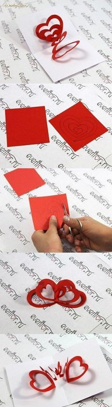 Kartka walentynkowa, którą zrobisz własnoręcznie! <3 Wystarczy zakupić tylko czerowny brystol i przepołowić kartkę na pół..<3