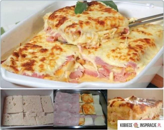 składniki: 1 opakowanie chleba tostowego Śmietana 1 cebula 3 ząbki czosnku 1/2 kg sera mozzarella 1/2 kg szynki  Jak przygotować W rondlu na odrobinę oleju wrzucamy cebulą i czosnek, a następnie dodajemy śmietany. Z chleba usuwamy skórkę i układamy warstwę, na to wylewamy trochę naszego sosu ze śmietany, ser, szynkę. Kolejny raz powtarzamy to samo. Na górę znowu ser i do pieca, aż ser się rozpuści i zapiecze