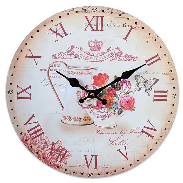 zegar do kuchni - piękny motyw kwiatowy.