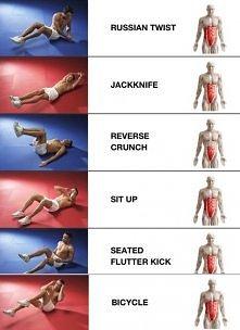Ćwiczenia na mięśnie brzucha :)  *Dla początkujących - każde ćwiczenie 30 x (...