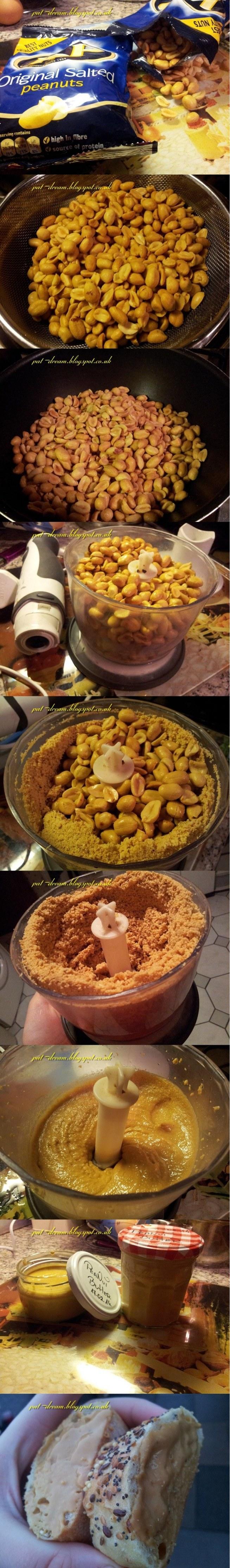 Masło orzechowe :   Składniki - 450 g orzeszków solonych - oliwa z oliwek ( psik )   Orzeszki przesiać przez sitko ( pozbyć się nadmiaru soli )  popsikać patelnie oliwa i uprażyć orzeszki , przesypać do miksera i zmiksować ! :) Gotowe :)   Mi z takiej ilość wyszły dwa słoiczki ! :)  Pyszne , smaczniejsze niż kupowane i wiesz co w nim jest ! :)