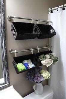 Mała łazienka, relingi do kuchni i koszyki.Praktyczny i nietypowy organizer łazienkowy