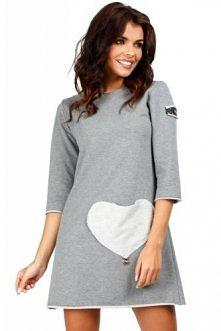 MOE - 053 Mini sukienka - tunika z kieszenią w kształcie serca - szara
