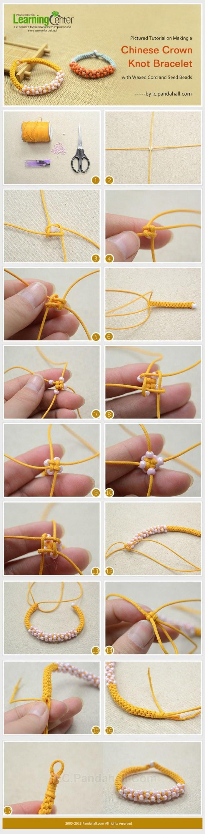 Как сделать браслет из бусин и шнурка
