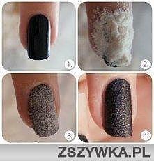 Paznokcie.Na świeżo pomalowane paznokcie sypiemy mąkę i czekamy   2 sekundy i...