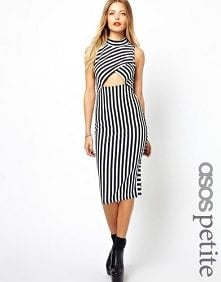 Asos Petite - ASOS PETITE Exclusive Striped Bodycon Dress With Cut Out Front