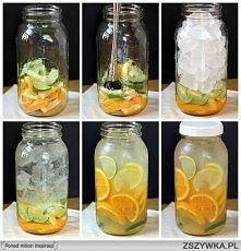 Woda owocowa  1.Do pojemnika dodajemy np.cytryne i pomarańcze. przekrojoną na pół.  2.Przyciskamy czymś. 3.Dajemy na to kostki lodu,a następnie odstawiamy do uzyskania wody.  3....