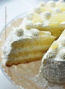 Tort Pina Colada  Biszkopt 8 jaj 15 dag mąki 15 dag cukru 1 opakowanie cukru waniliowego 1 budyń śmietankowy 1/2 opak. proszku do pieczenia ( kopiasta łyżeczka) szczypta soli  O...