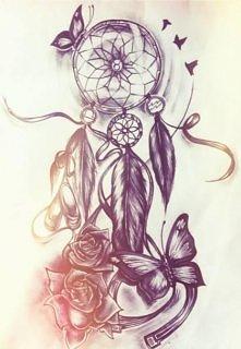 łapacz snów, róże, motyle, ptaki