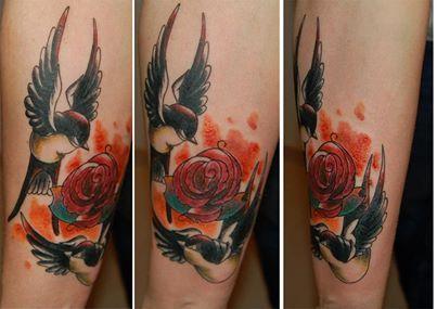 Ptaki I Kwiaty Tatuaż W Kolorze Na Wzory Tatuaży Zszywkapl