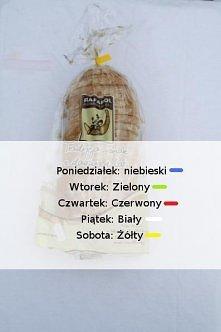 Czy wiesz,że kolor wstążki na chlebie oznacza, w który dzień chleb został dostarczony do sklepu?   Teraz życzymy smacznego polowania na tylko świeże pieczywo! Zespół sklep.edrno...