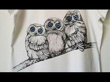 DIY: Niebieskookie sowy hand made t-shirt tutorial