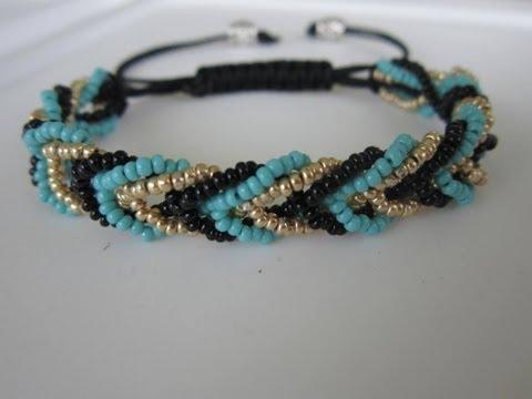 Shamballa Bracelet with 3 colors Seed Bead . Шамбала Браслет из Бисера.