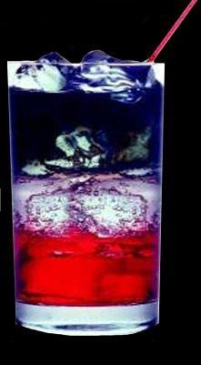 ''Moon Glow'' Składniki 1)Lód 2)Sok żurawinowy 3)Woda sod...