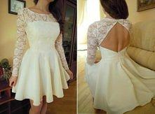 Sukienka Backless - gorset, koronka, rękaw, odkryte plecy