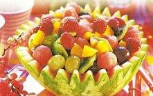 Sałatka z cząstek mandarynki 1 kiwi 1 plastra ananasa 1/2 opakowania jogurtu owocowego light 2 1/2 łyżki otrąb pszennych 1 łyżeczki mielonego siemienia lnianego
