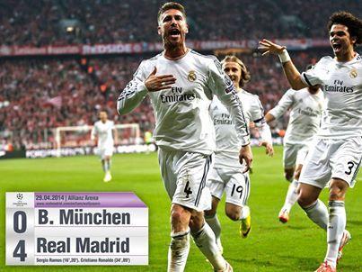 Dzisiaj okaże się kto zostanie przeciwnikiem Realu w finale. Jak myślicie? Atletico czy Chelsea?  Wczoraj Real pokonał w Monachium Bayern, aż 4:0. W dwumeczu Królewscy ograli 5:0 Bawarczyków.  Gratulacje!  <3