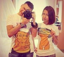T-shirty koszulki dla par zakochanych sexy man i girl z odkrytymi brzuchami/ ...