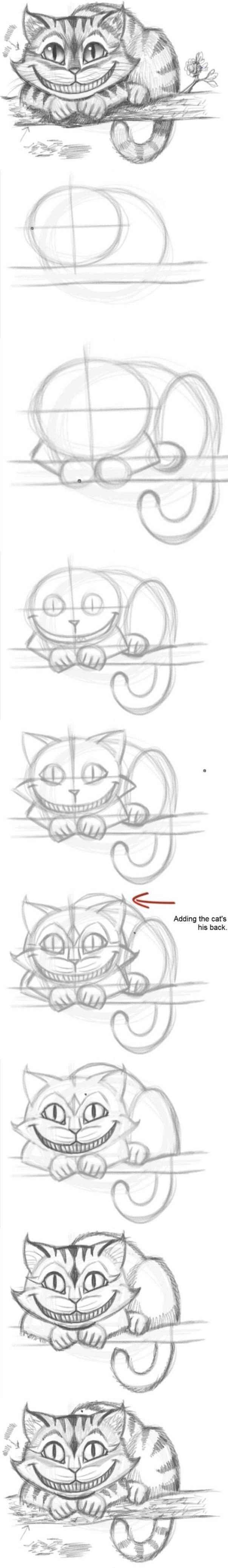 Jak łatwo narysować kota z Cheshire - tutorial