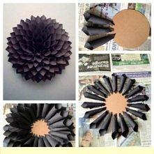 Papierowy,czarny kwiat