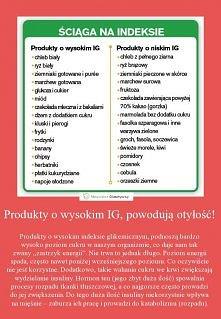 Produkty o wysokim i niskim IG