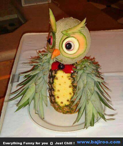 Znalezione obrazy dla zapytania sowy z warzyw i owoców
