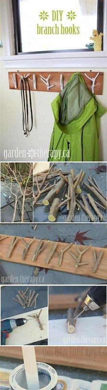 drewniany wieszak DIY