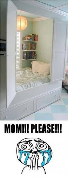 łóżko w szafie ;p