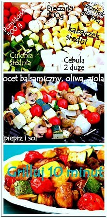 Grillowane warzywa w 10 min Alternatywa dla kiełbasy i karkówki. Na 4 porcje 1 porcja to niecałe 150 kcal