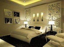 Śliczna biało-czarna sypial...