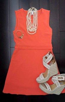Coral summer mini dress