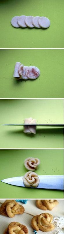 cynamonowe róże lub ciastka waniliowe Składniki:  ciasteczka waniliowe  300 g...