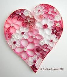 quilling - piękna sztuka. tym razem kwiaty w sercu