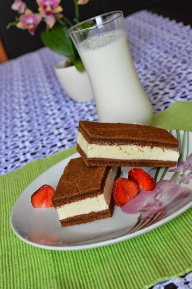 Mleczna kanapka - milk slice.    Składniki na ciasto:      5 jajek     szklanka mąki pszennej     łyżeczka proszku do pieczenia     2 łyżki miodu     2 łyżki cukru     5 łyżek gorzkiego kakao     2 łyżki oleju   Składniki na masę mleczną:      szklanka mleka     2 łyżki miodu     1/3 szklanki cukru     paczuszka cukru waniliowego     szklanka mleka w proszku (najzwyklejsze, nie dla dzieci bo idzie zbankrutować)     200g masła/margaryny   Przygotowanie:      Rozbijamy jajka, osobno żółtka i białka. Białka miksujemy na wysokich obrotach na sztywną pianę, a następnie dodajemy dwie łyżki cukru, aż piana będzie błyszcząca. Żółtka ukręcamy z dwoma łyżkami miodu na puszystą masę.     Łączymy żółtka z białkami przy pomocy drewnianej łyżki. Następnie dodajemy proszek do pieczenia i powoli, łyżkami mąkę i kakao, do uzyskania jednolitej masy.     Blaszkę wysmarowujemy tłuszczem, następnie kładziemy na niej papier (wstyd się przyznać, ale mi zabrakło i użyłam papierowych woreczków na śniadanie :P), wylewamy ciasto z miski i dokładnie rozsmarowujemy.     Pieczemy w 160 stopniach bez termoobiegu, przez około 15-20 minut.     Wyciągamy z piekarnika i przekrajamy w połowie, a następnie odcinamy po milimetrze boki, aby nie były suche.     W rondelku rozpuszczamy mleko z miodem, cukrem, cukrem wanilinowym i odstawiamy do wystudzenia.     W misce ukręcamy masło na puszystą masę, a następnie po łyżce wlewamy ostudzone mleko.     Powoli dosypujemy mleka w proszku i miksujemy do połączenia skła...