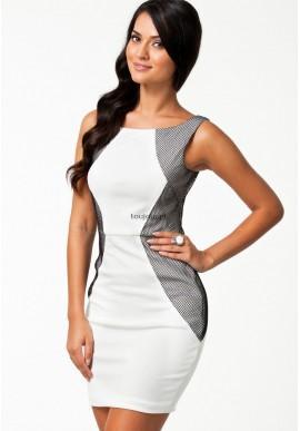 Biała sukienka z czarnymi wstawkami  Wyjątkowa sukienka koktajlowa na przyjęcia i nie tylko