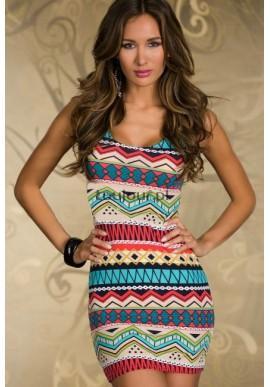 Kolorowa mini sukienka w etniczne wzory  Fantastyczna, prosta sukienka w interesujący wzór.