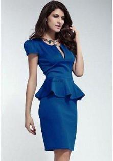 Niebieska sukienka z baskin...