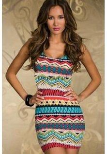 Kolorowa mini sukienka w et...