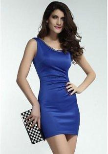 Niebieska sukienka mini z ł...