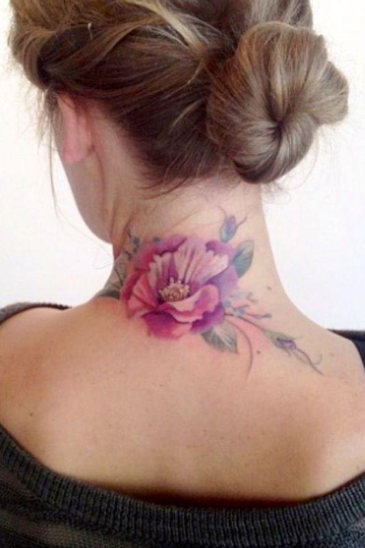 Kwiat Tatuaż Na Szyi Na Wzory Tatuaży Zszywkapl
