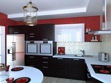 Kuchnia dla tych, kto lubi łączyć biały, czarny oraz czerwony kolor.