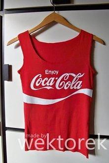 Sprzedam top Coca-Cola. Ręcznie malowany.  Więcej informacji: wektorek.handmade@gmail.com