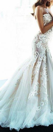 koronkowa biała suknia - kl...
