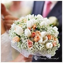 Bukiet ślubny - róże, tulip...