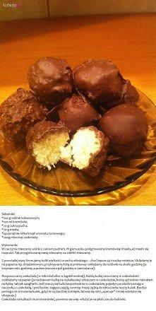 Składniki: 200g wiórek kokosowych 100ml kremówki 70g cukru pudru 70g masła op...